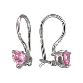 Детские серьги Сердечки с розовым фианитом, серебро