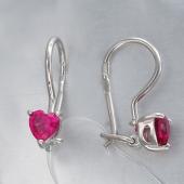 Серьги детские Сердечки с розовым (с цветным) фианитом, серебро