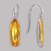 Серьги с крупным овальным желтыми (с цветными) фианитами, серебро