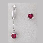Серьги асимметричные Сердце в круге и красным фианитом, серебро
