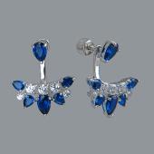 Серьги джекеты с синими и прозрачными фианитами, серебро