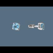 Серьги-пусеты с круглым топазом, серебро