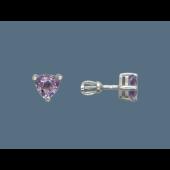 Серьги-пусеты с аметистом в огранке триллион, серебро