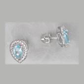 Серьги-пусеты Капля с топазом и фианитом,  серебро