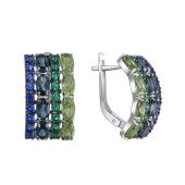 Серьги Дорожка с Лондон топазами, хризолитами, синими и зелеными фианитами, серебро