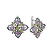 Серьги Цветок с аметистами, хризолитами и зелеными фианитами, серебро