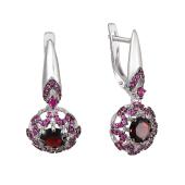 Серьги круглые на подвесе с гранатом и розовыми фианитами, серебро