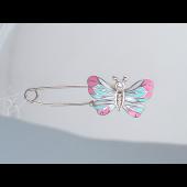 Брошь булавка Бабочка с фианитами из серебра 925 пробы