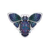 Брошь Майский жук с искусственным опалом и цветными фианитами из серебра 925 пробы