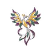 Брошь Жар-Птица с фианитами из серебра 925 пробы с позолотой