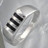 Кольцо мужское с тремя полосами черной эмали, серебро