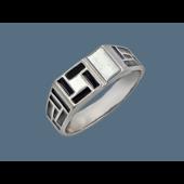 Кольцо мужское с черной эмалью, серебро