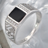 Кольцо с черной эмалью и фианитами из серебра