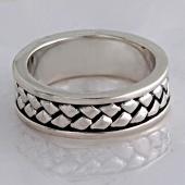 Кольцо Косичка без вставок, серебро