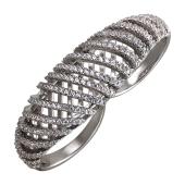 Кольцо Спирали с фианитами на два пальца, серебро