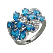 Кольцо с голубым синтетическим топазом и фианитами из серебра