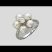Кольцо Ромашка с белым жемчугом и фианитом, серебро