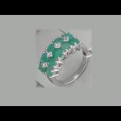 Кольцо с изумрудом бериллом и фианитами, серебро