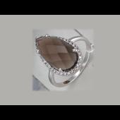 Кольцо Капля с раухтопазом и фианитами из серебра