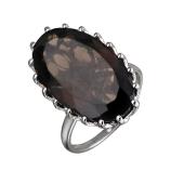 Кольцо с овальным раухтопазом из серебра