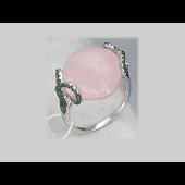 Кольцо с розовым кварцем и зелеными фианитами, серебро