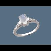 Кольцо с кварцем огранки кабошон и фианитами, серебро