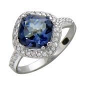 Кольцо с мистическим кварцем и фианитами, серебро