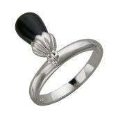 Кольцо с подвесом с ониксом, серебро