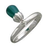 Кольцо с подвесом с хризопразом, серебро