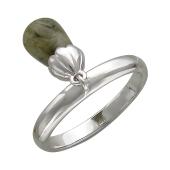Кольцо с подвесом с лабрадоритом, серебро