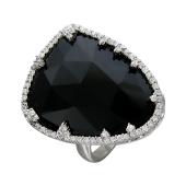 Кольцо с ониксом и фианитом из серебра 925 пробы