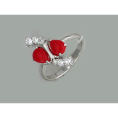 Кольцо с кораллом и фианитами, серебро