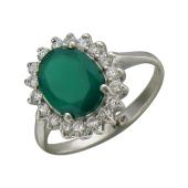 Кольцо с хризопразом и фианитами, серебро
