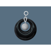 Кулон круглый с ониксом синтетическим и фианитами, серебро