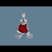 Кулон Лягушка с кораллом и фианитами из серебра