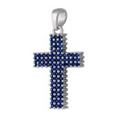 Крест без распятия с синими фианитами, серебро
