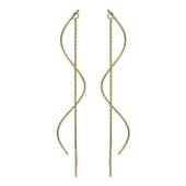 Серьги-продевки Волна, желтое золото