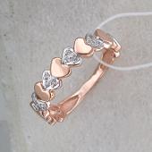 Кольцо Сердечки с фианитами, красное золото