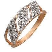 Кольцо с фианитами, красное золото