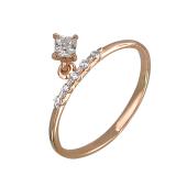 Кольцо с подвеской с квадратным фианитом, красное золото