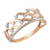Кольцо с прозрачными фианитами из красного золота 585 пробы