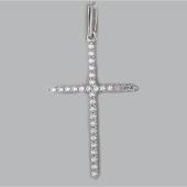 Крест без распятия с фианитами, белое золото