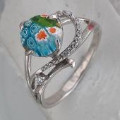 Кольцо с стеклом Мурано и фианитами, серебро