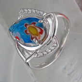 Кольцо с муранским стеклом и фианитами, серебро