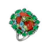 Кольцо зеленое (синее) с муранским стеклом и шпинелью, серебро