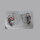 Серьги с муранским стеклом и фианитами из серебра