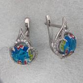 Серьги с муранским стеклом и фианитом, серебро