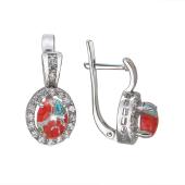 Серьги овальные с цветным Мурано и фианитами, серебро