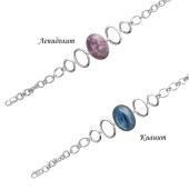 Браслет Овалы с авантюрином (или лепидолитом, или агатом, или кианитом, или бирюзой), серебро