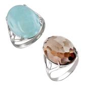 Кольцо с большим овальным аквамарином (раух-топазом), серебро